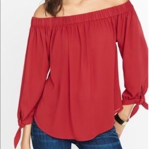 Express Off The Shoulder Tie Sleeve Blouse